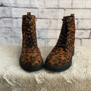 Xappeal- Leopard print combat boots